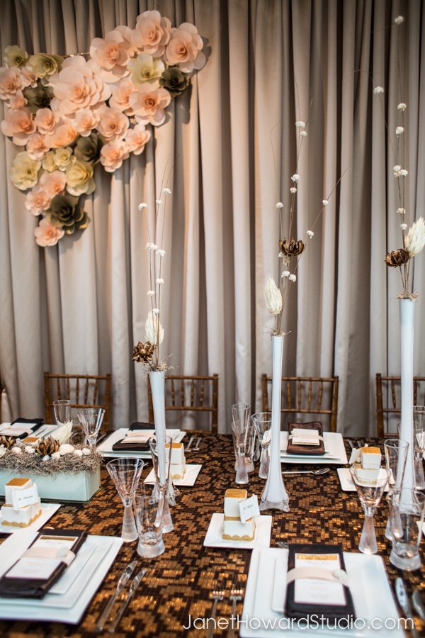 Modern tablescape brown gold, paper flowers, squares