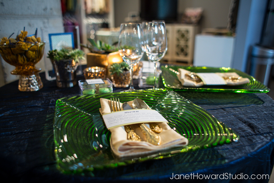 Royal Blue, green and gold modern sweetheart table by Lemiga Events, stationery by yourhinote.com