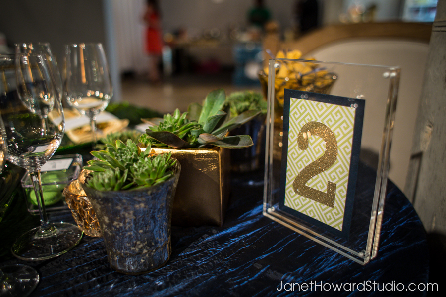 Royal Blue, green and gold modern sweetheart table with succulents by Lemiga Events