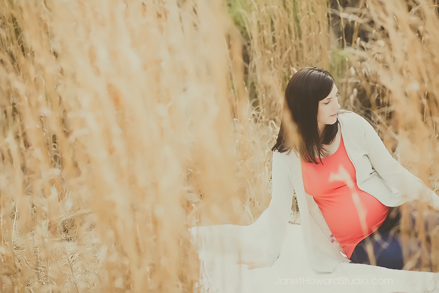 Maternity portrait in a field. at McDaniel Farm Park