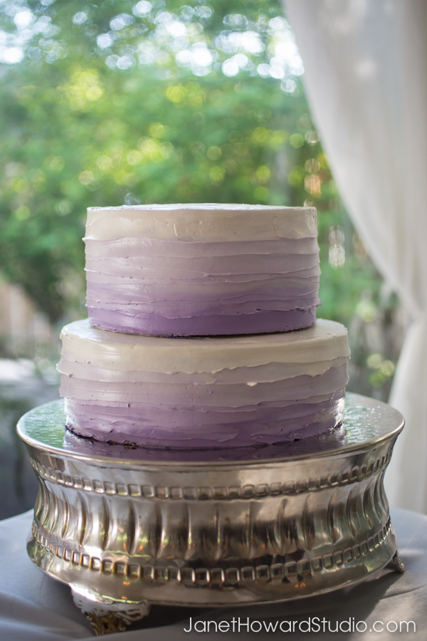 Purple Ombre wedding cake at Canoe Atlanta