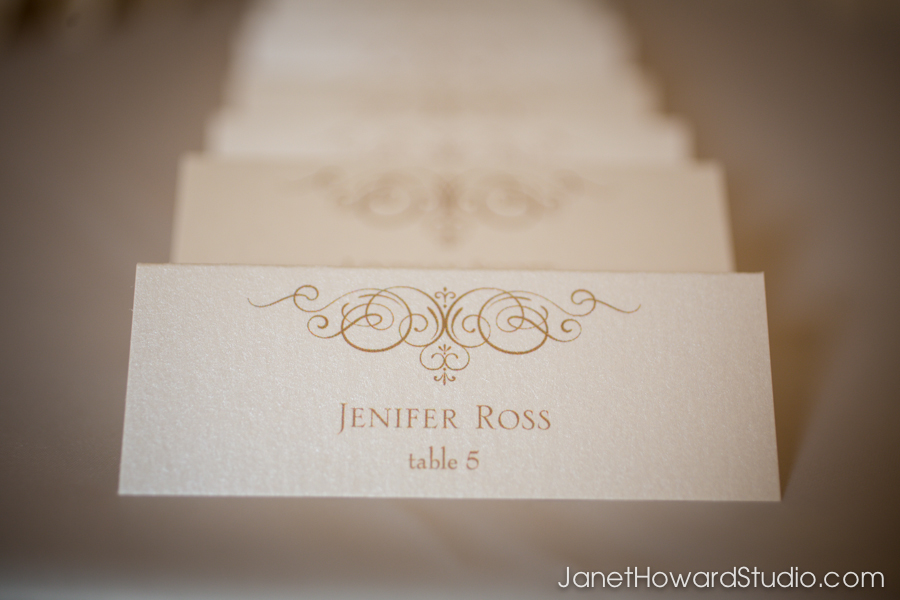 Ivory & gold escort cards