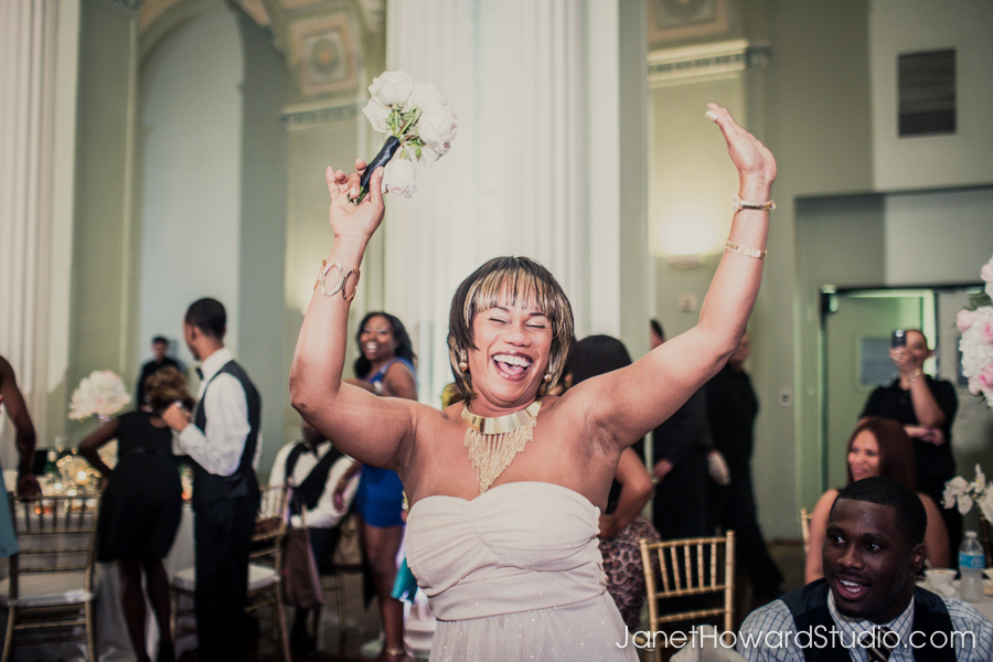 Bouquet toss at the Biltmore