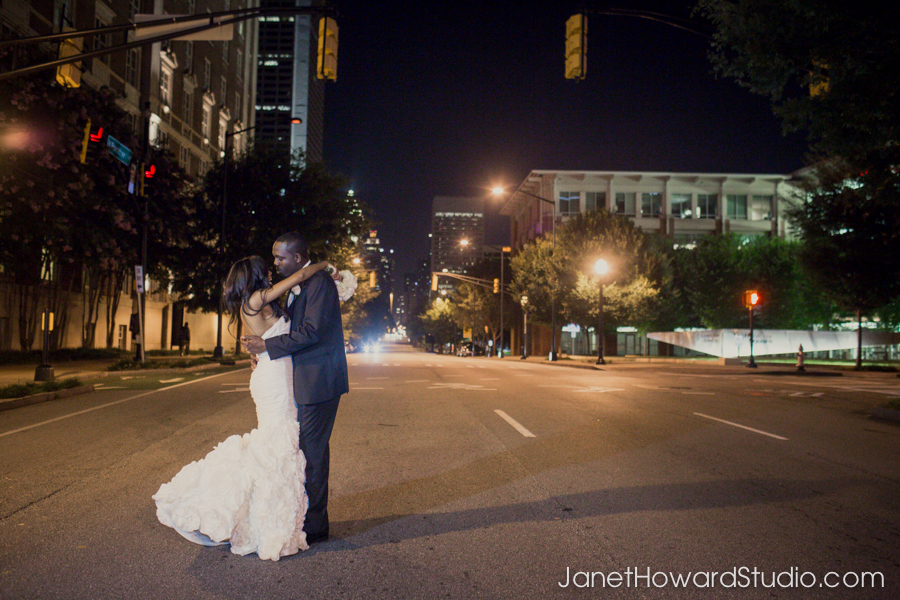 Bride and groom walking from The Biltmore to Renaissance Midtown
