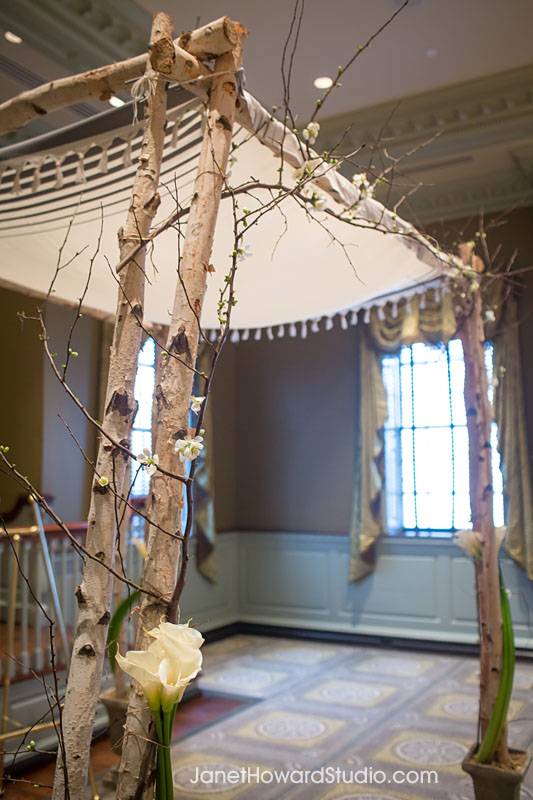 White birch edding chuppah by Bloomin' Bouquets