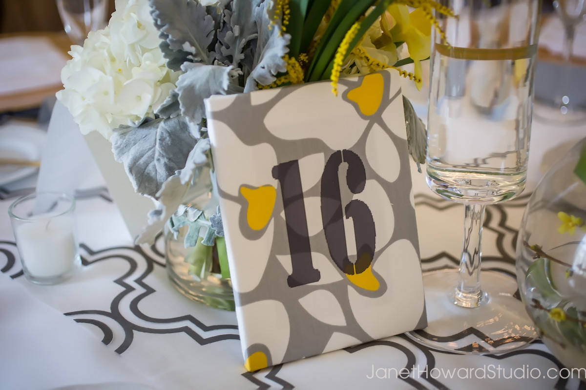 patterned fabric DIY table numbers