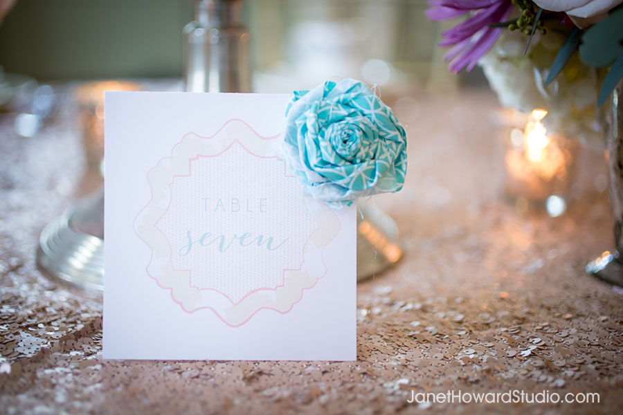 table number with fabric corsage