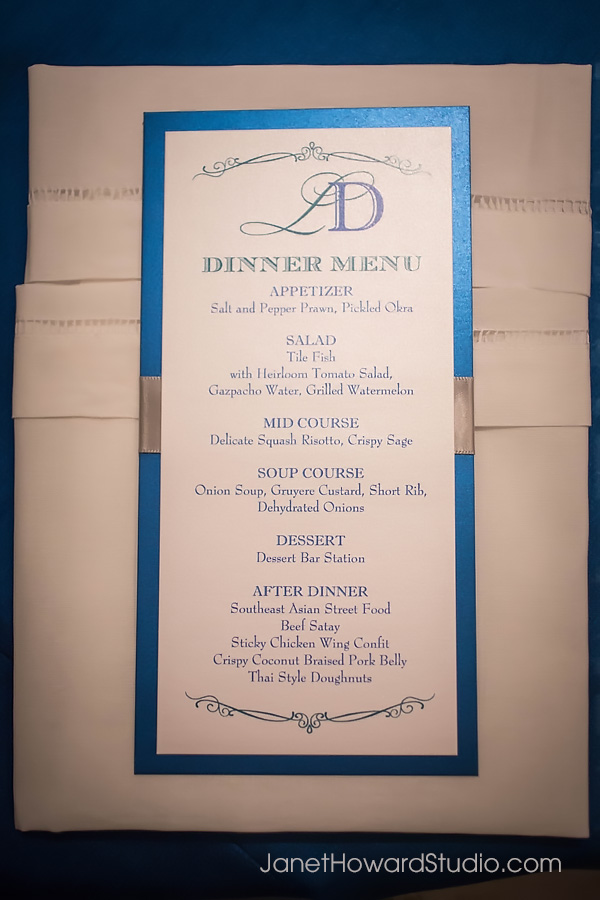 Wedding reception menu by F&G Weddings, Edge Design, Papered Wonders