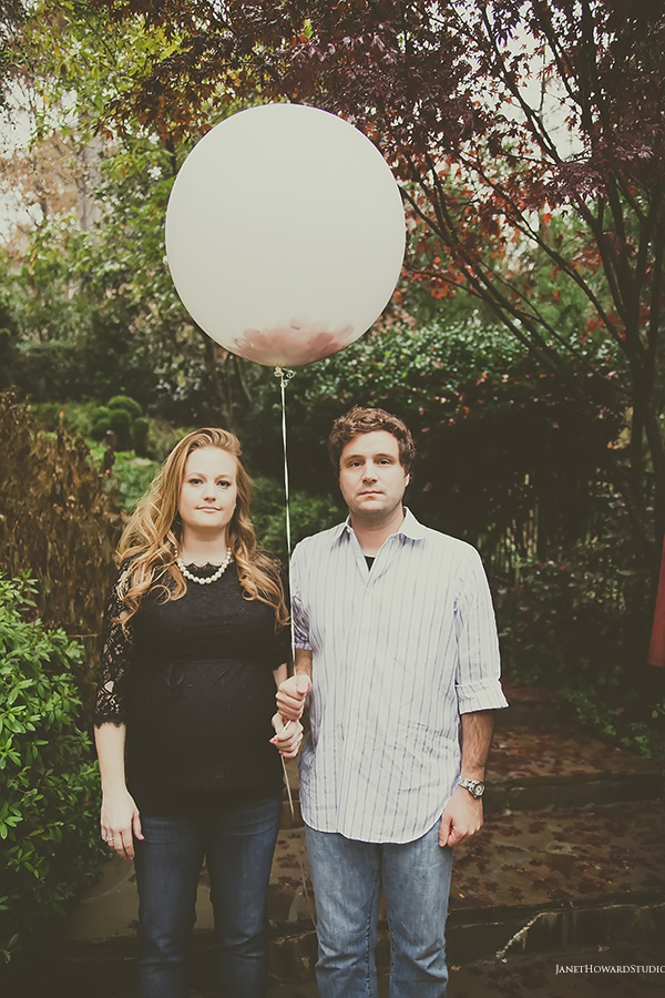 Gender Reveal Photos with confetti balloons