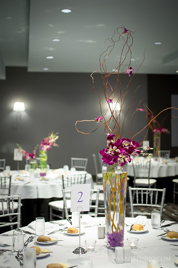 Wedding reception floral decor by Joan Rubenstein