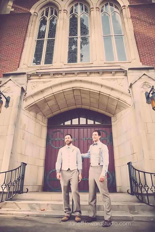 Groom and Best Man at Grace United Methodist in Atlanta