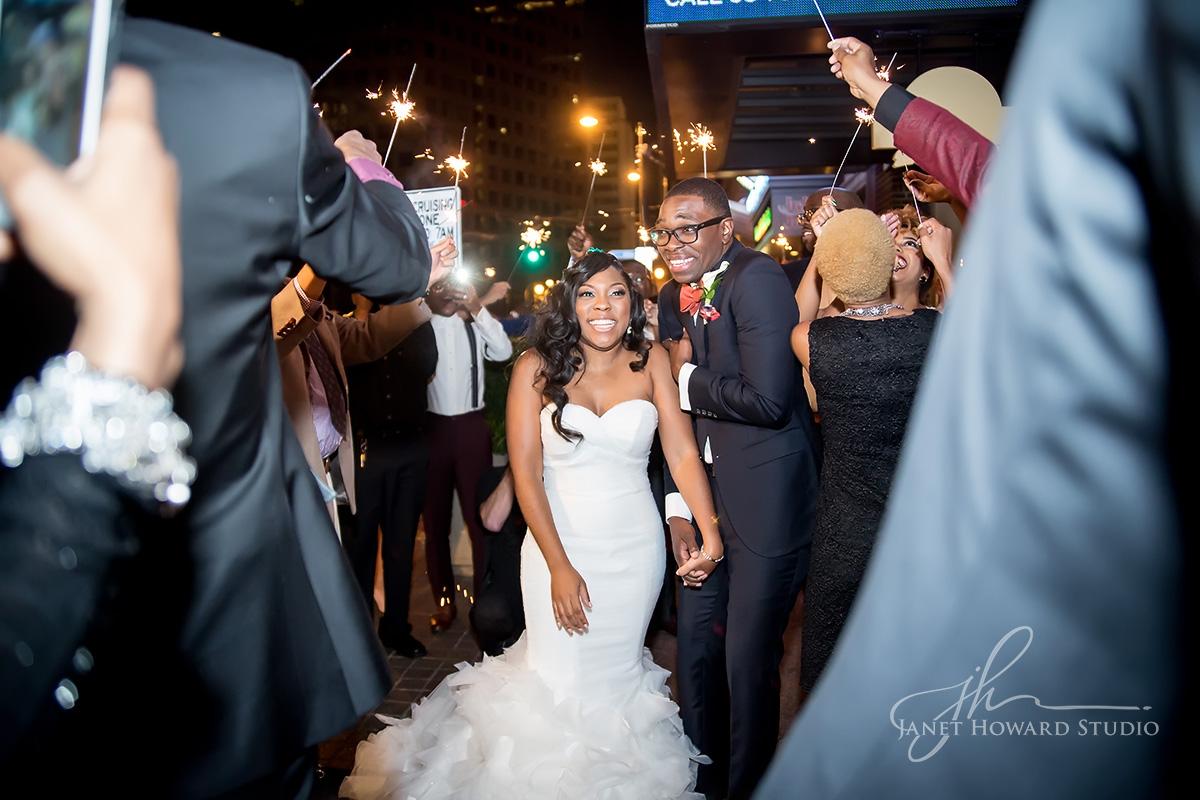 Bride + Groom sparkler exit