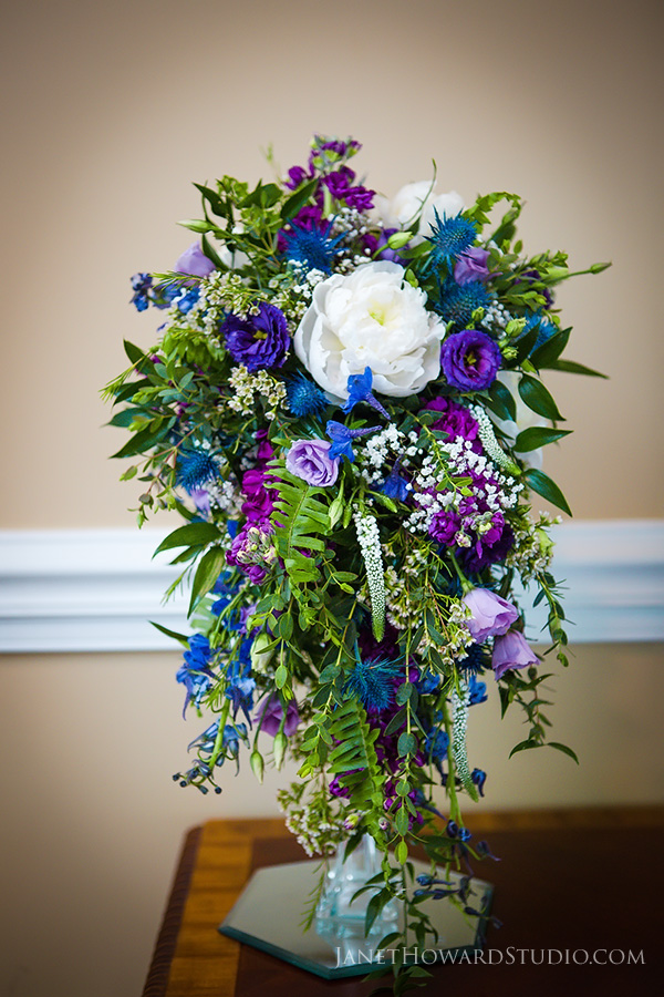 Blue and purple cascade bouquet