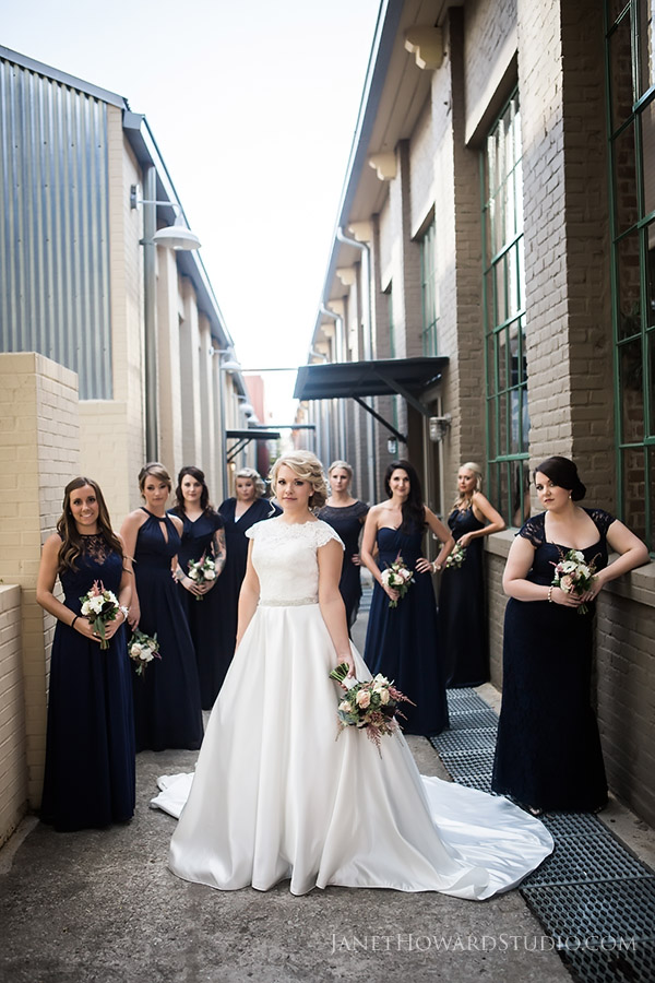 Bride and bridesmaids at The Foundry at Puritan Mill Wedding, Atlanta wedding photography at The Foundry at Puritan Mill