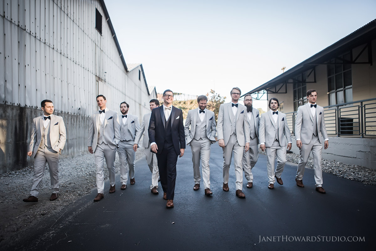 Groom and Groomsmen at The Foundry at Puritan Mill Wedding
