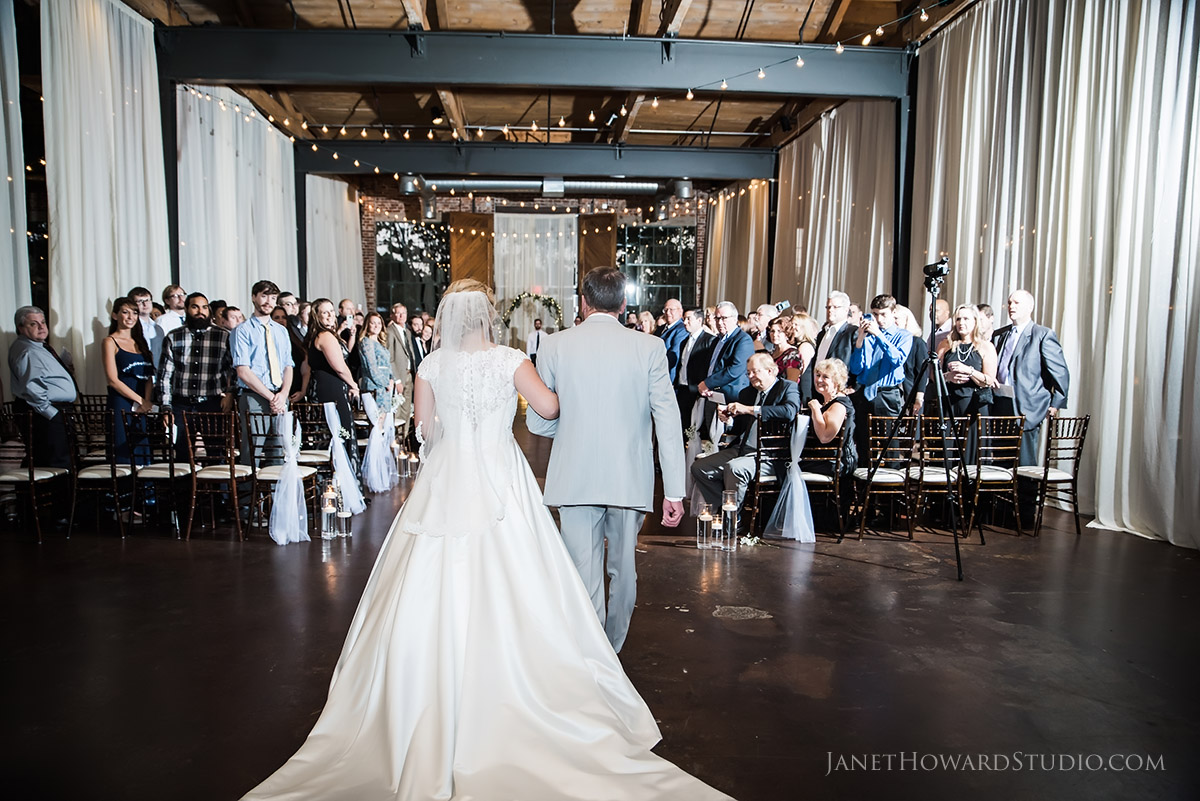 Wedding ceremony at The Foundry at Puritan Mill