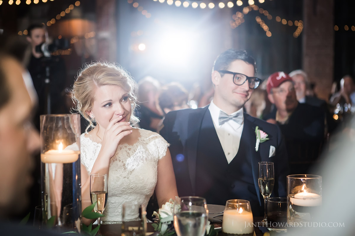 Wedding toasts at The Foundry at Puritan Mill