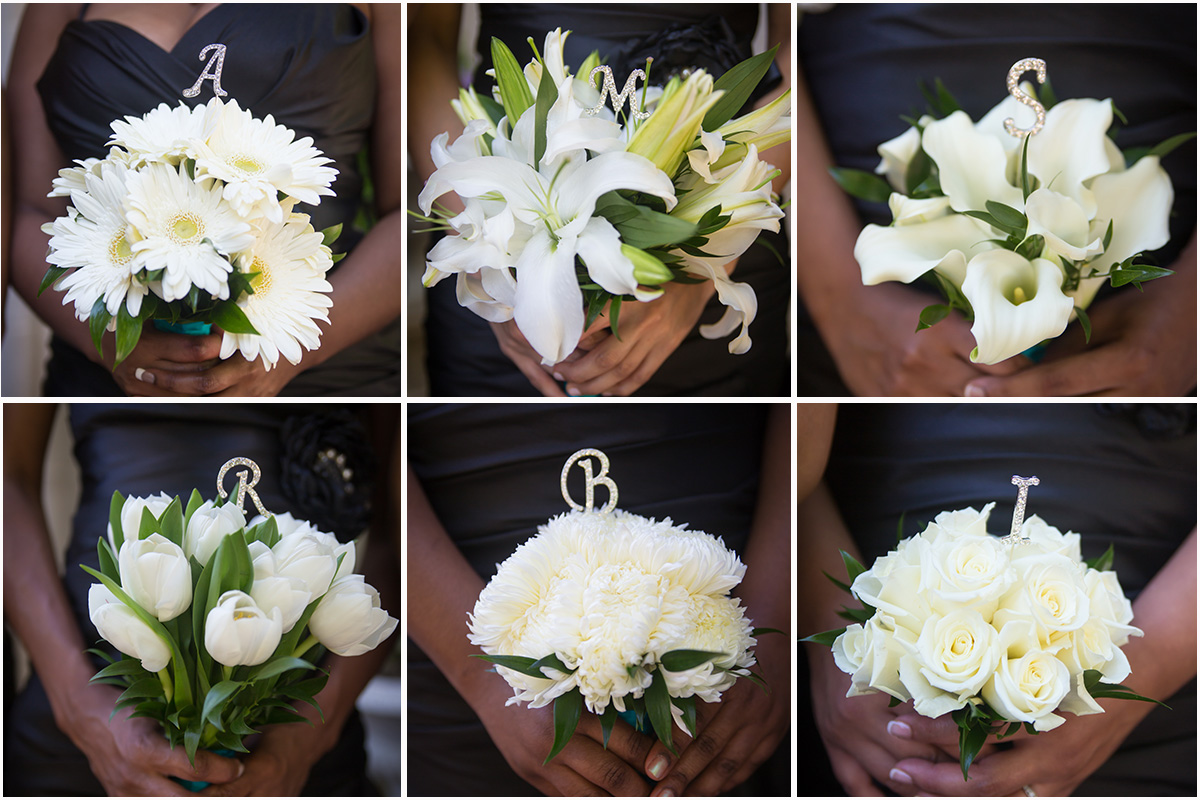 Bridesmaid bouquets with initials.
