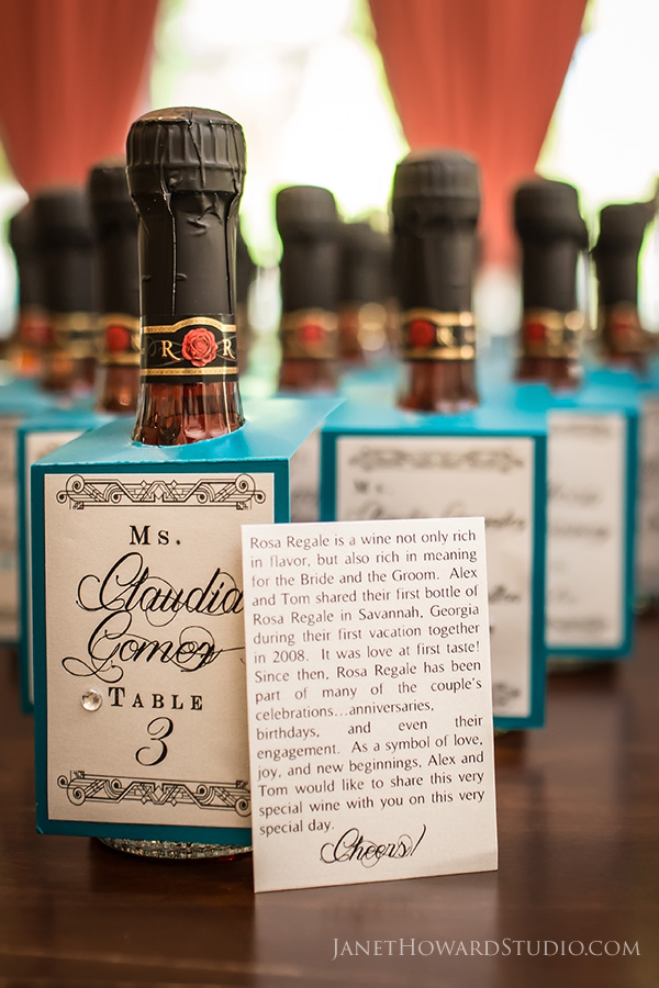 Wine bottle wedding favor escort cards
