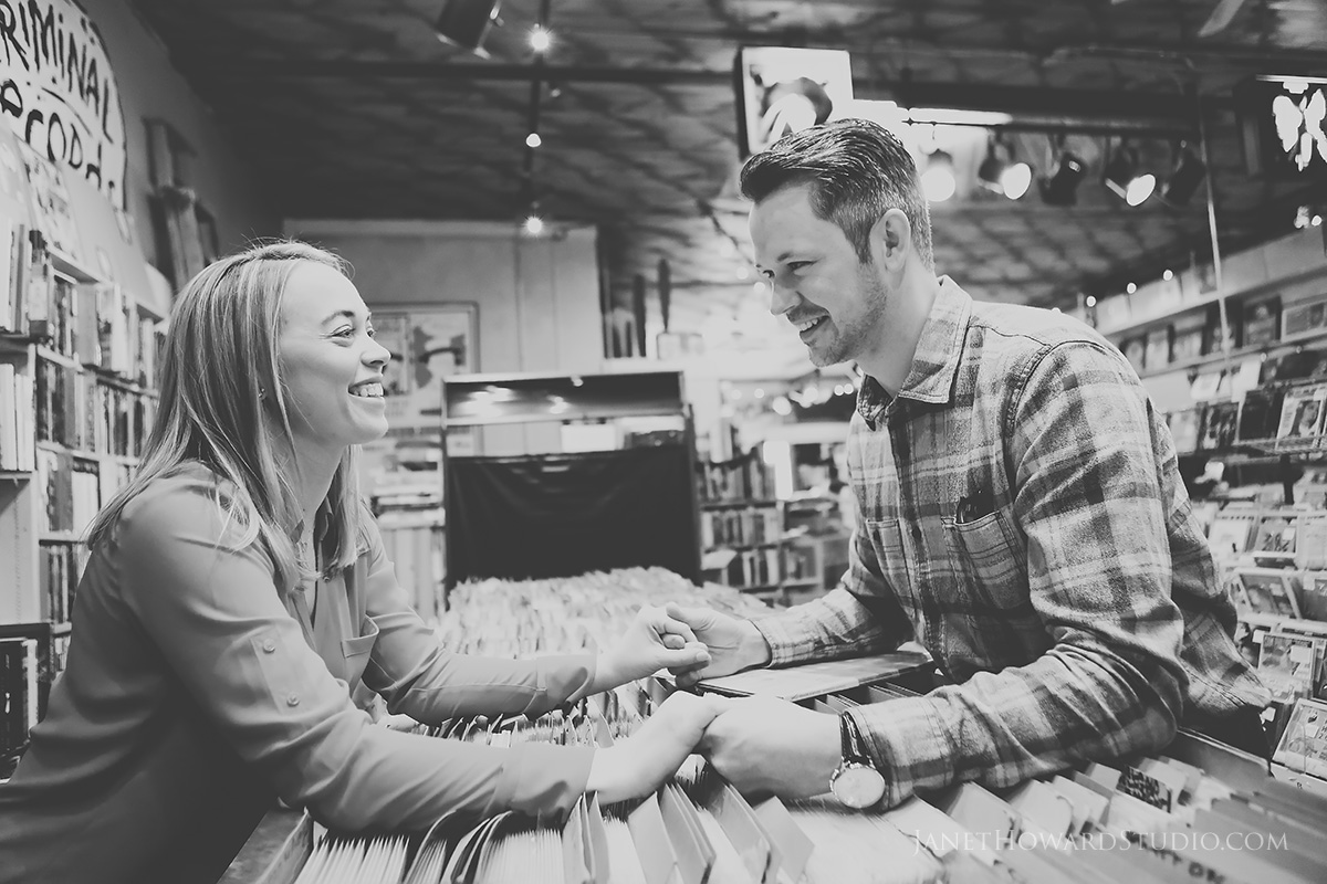 record store engagement photos