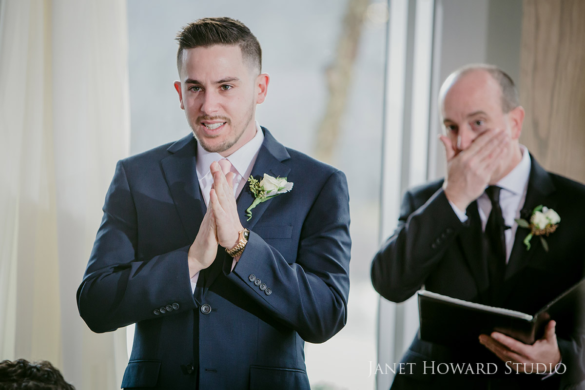 Emotional Groom sees bride