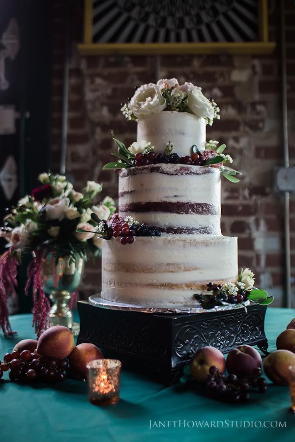 Wedding cake with fresh fruit decoration