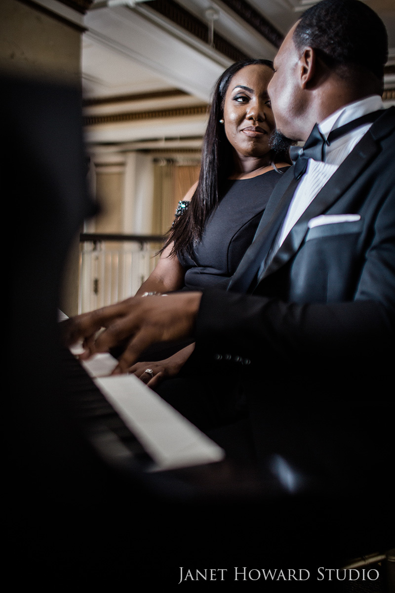 Engagement photos with piano