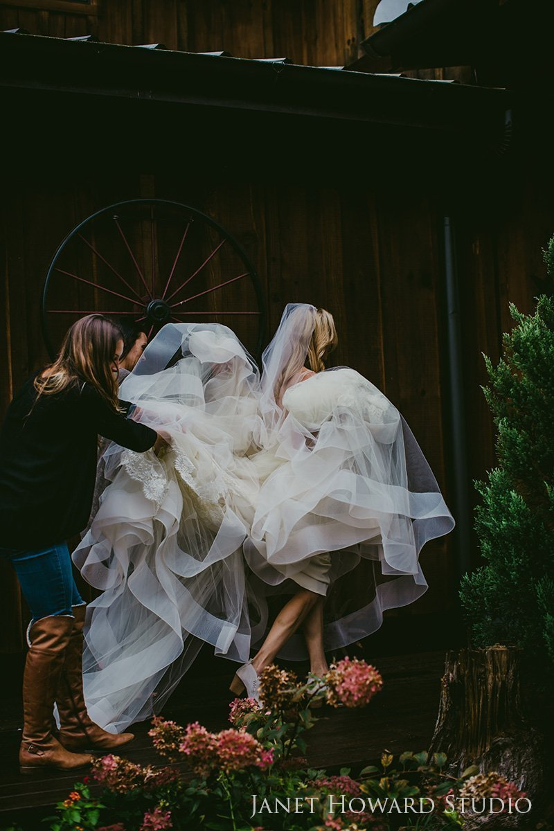 Rainy day bride walk
