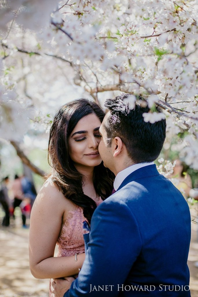 Engagement photos in the cherry blossoms