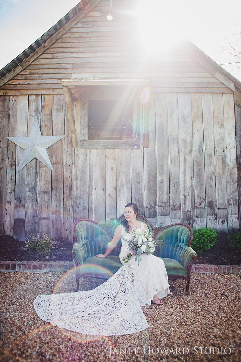 bridal portrait with barn at West Milford Farm