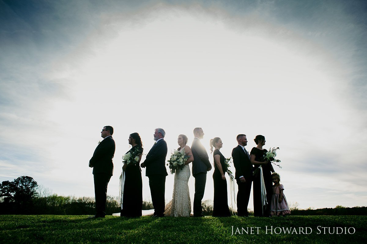 Silhouette wedding party at West Milford Farm