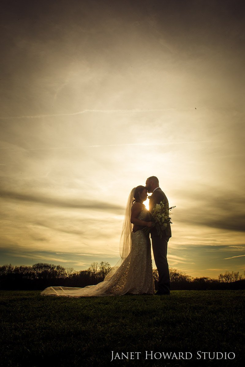 Bride and groom at Sunset at West Milford Farm