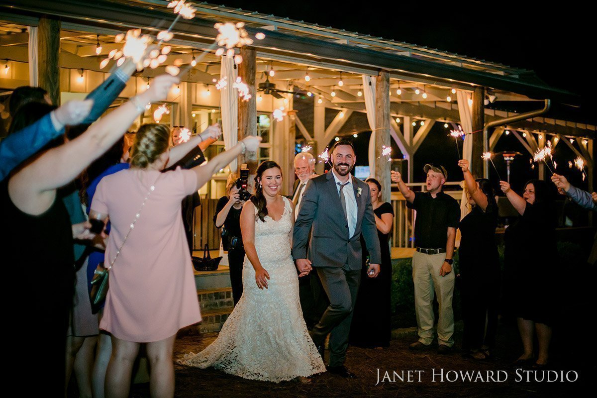 Wedding reception sparkler exit