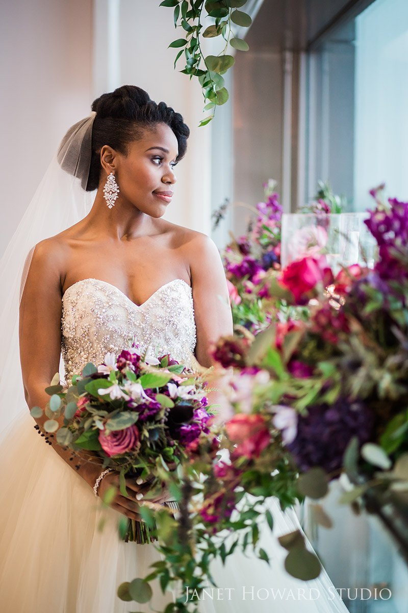 bride and florals