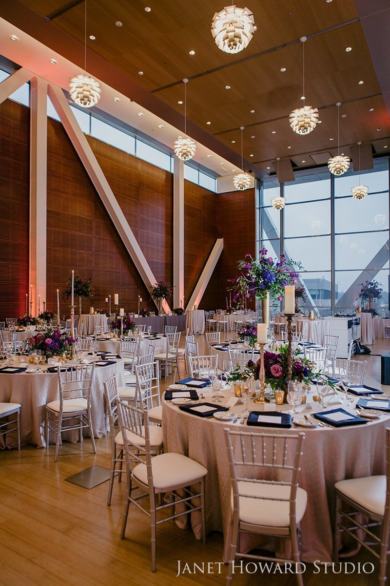 Wedding reception decor at Clinton Library