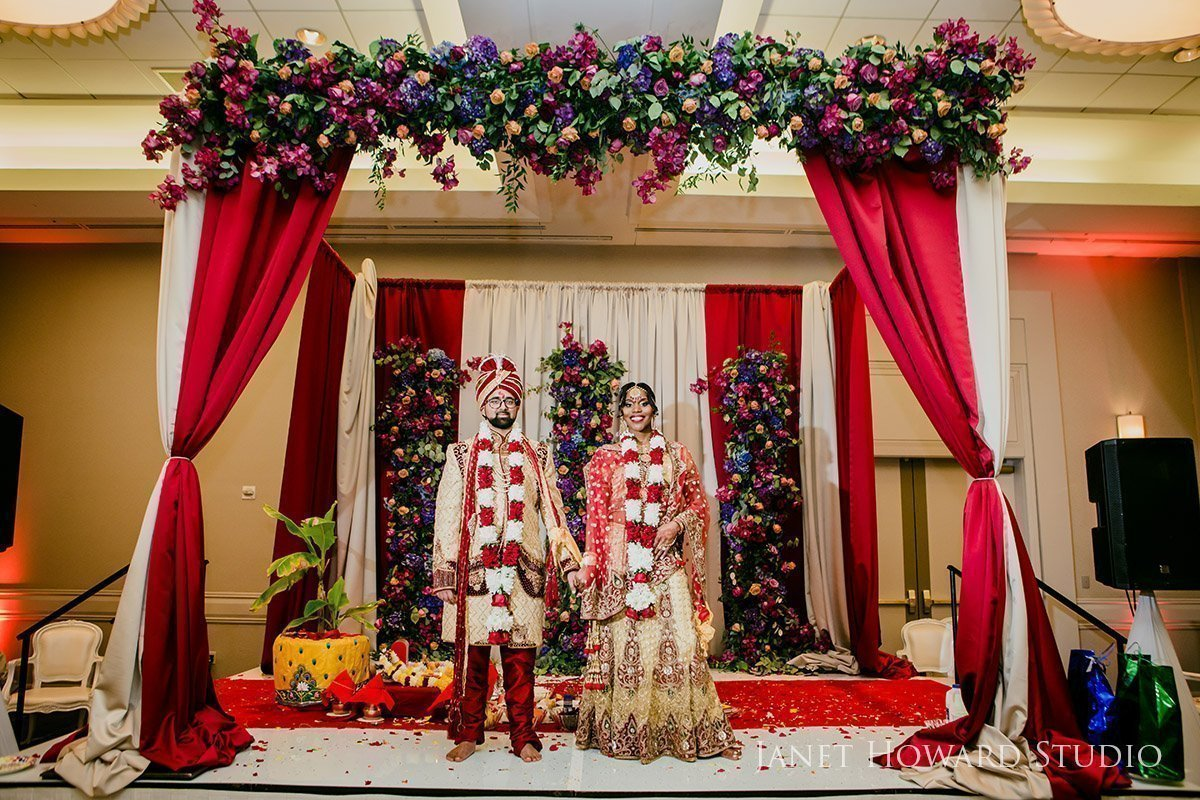 Indian Bride and groom under mandap