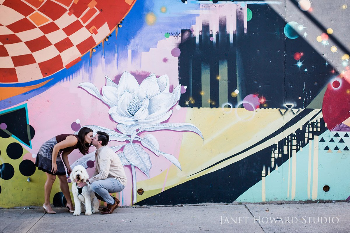 Atlanta Mural Engagement Photo Shoot with Dogs