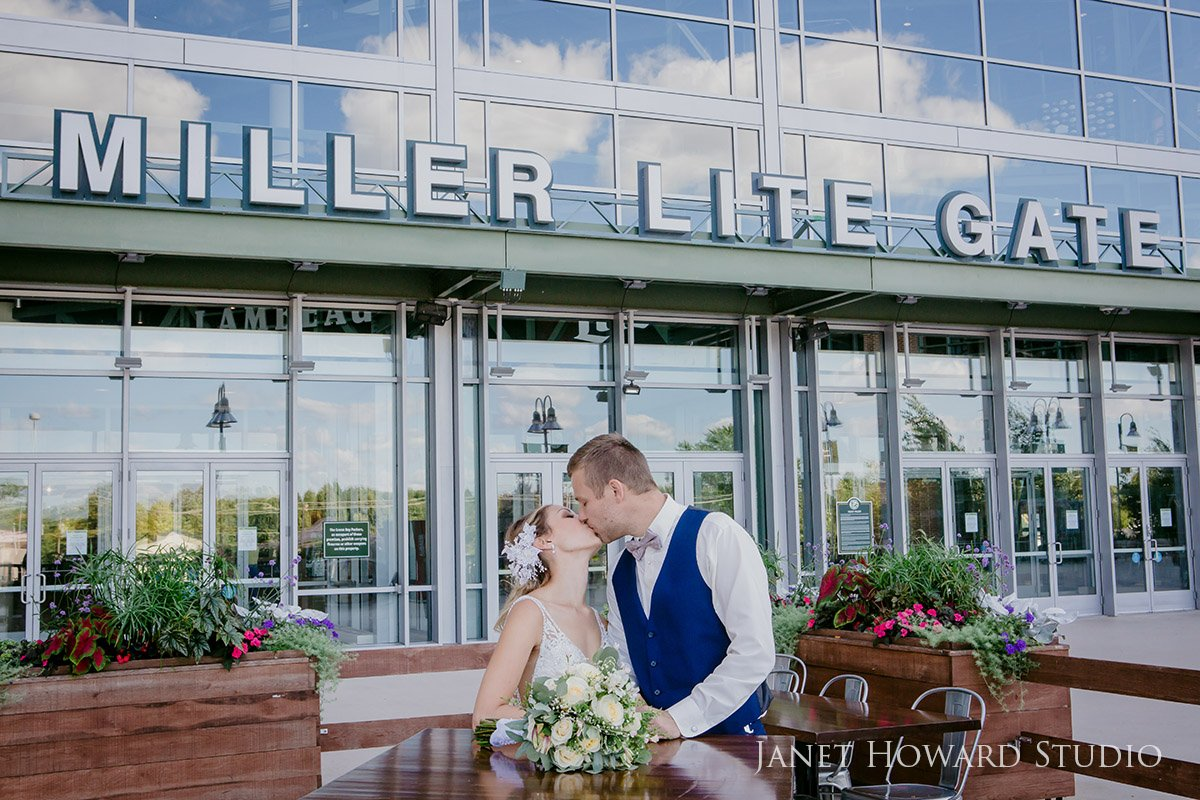 Lambeau Field Green Bay Wisconsin Wedding Party Photo