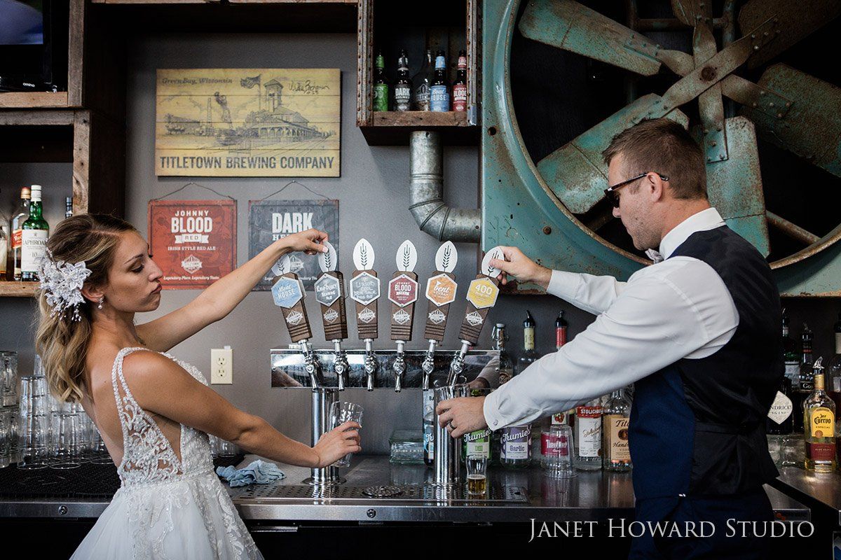 Lambeau Field Green Bay Wisconsin Bride and Groom