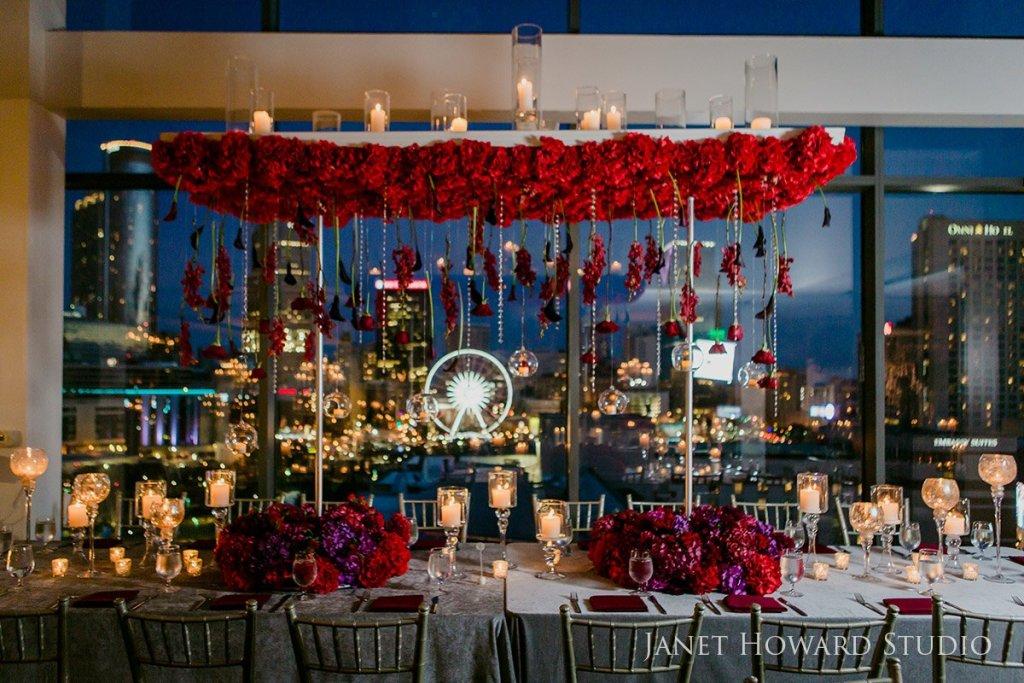 Reception table decor by Edge Design Group at Ventanas Atlanta