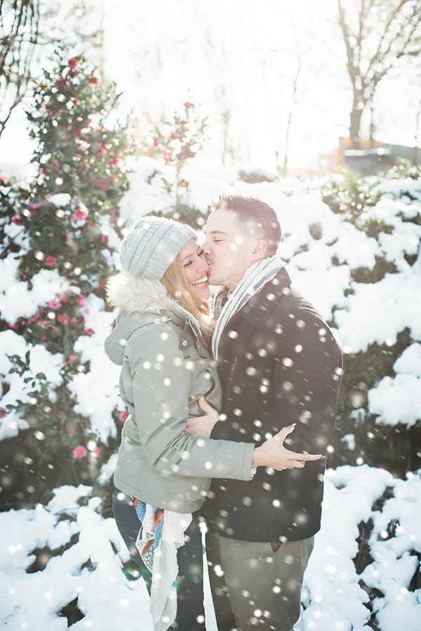 Piedmont Park Couple Engagement Photo in the Snow
