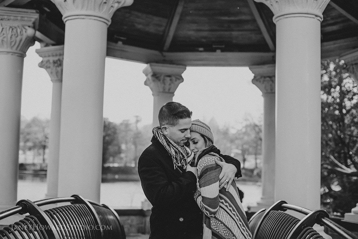 Piedmont Park Gazebo Couple Engagement Photo