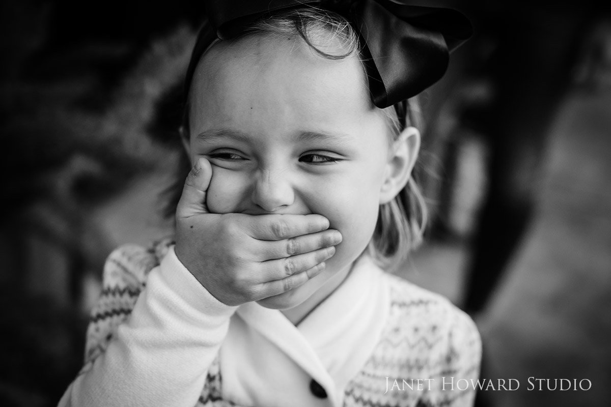 Black and White Little Girl Portrait