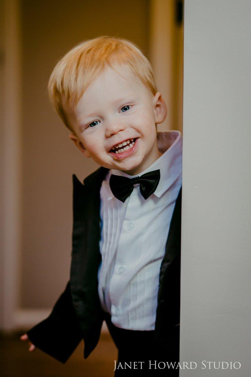 Toddler in a tuxedo
