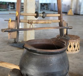Spinning the silk thread. Each is made of 100 threads.