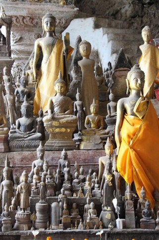 Thousands of Buddha statues in Pak Ou Caves