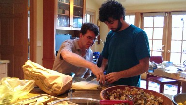 Will and William work on stuffed eggplant.