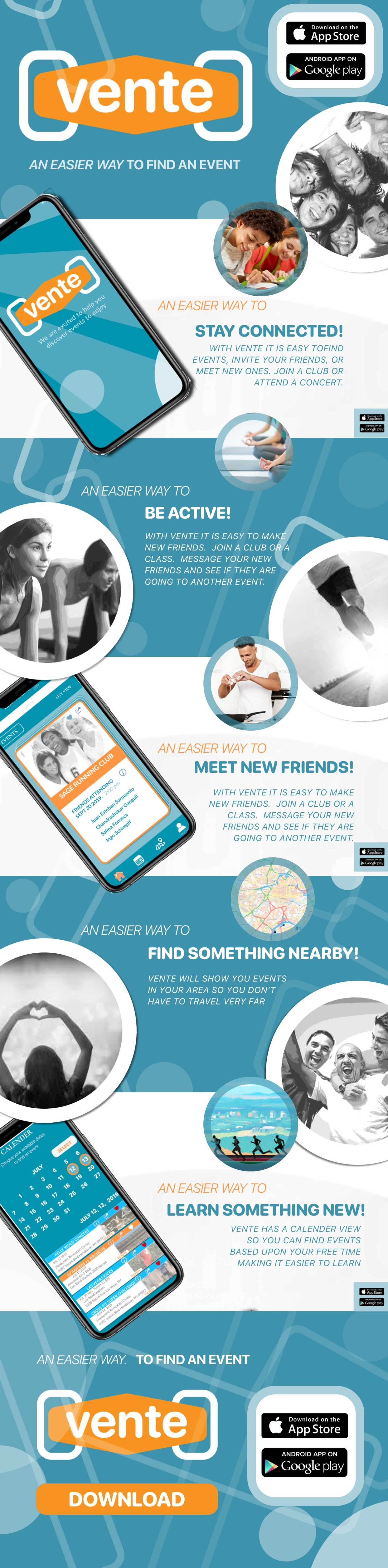Marketing Screen for Vente App: Stay Connected Be Active Meet New Friends Find Something Nearby Learn Something New