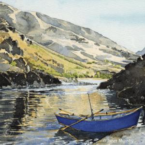 Blue Driftboat watercolor by Janet-Murphy (sold).