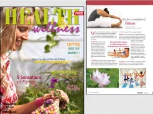 Health & Wellness Magazine cover and interior page design.
